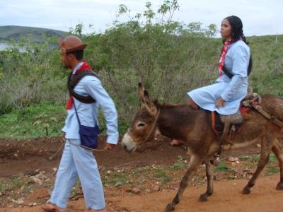 Lampião e Maria Bonita em filmagem do projeto